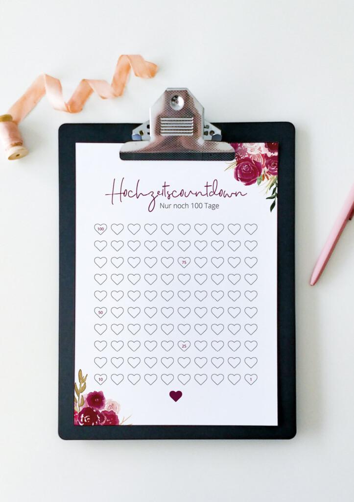 Hochzeitscountdown, Kalender, Produktfoto, floral
