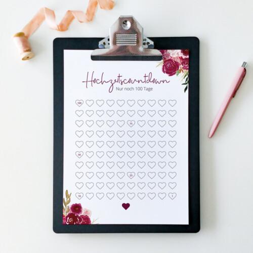 Hochzeitscountdown, Kalender, Hochzeit, Geschenk