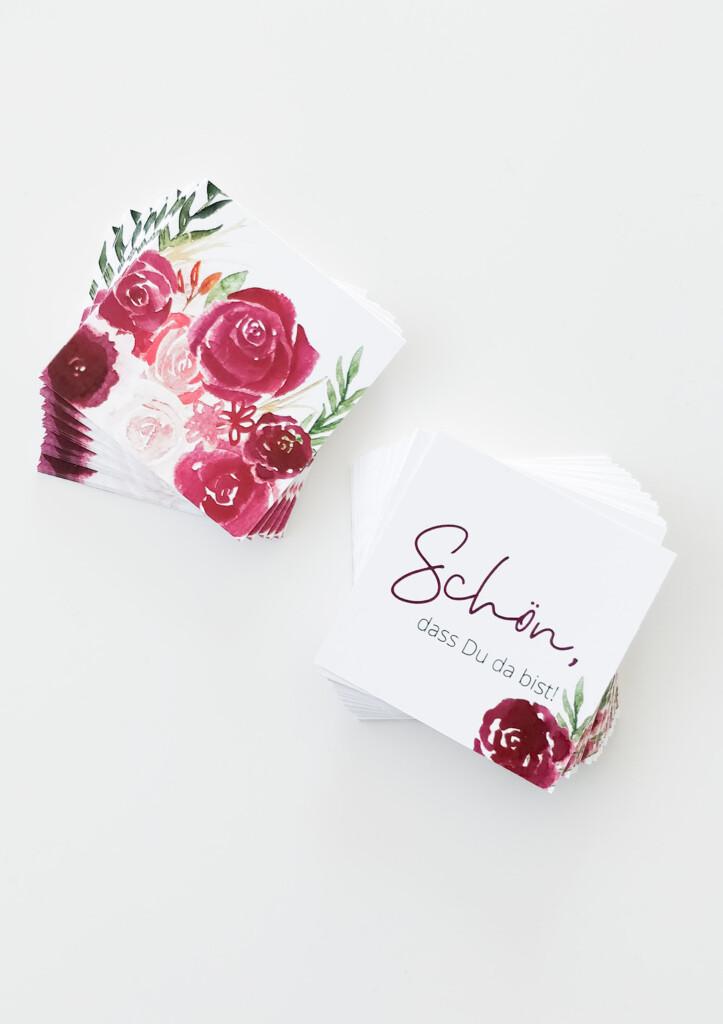 """Gastgeschenkanhänger, Produktfoto, Gastgeschenk, """"Schön, dass Du da bist"""", florales Design"""