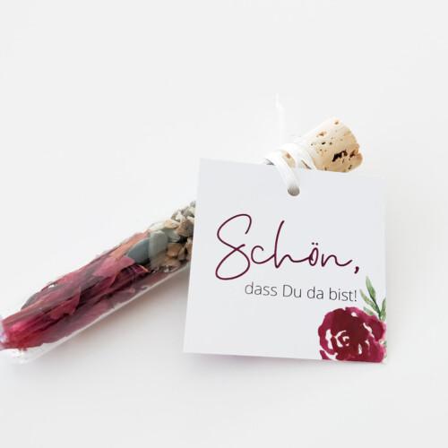 Anhänger Gastgeschenke, floral, Schön, dass Du da bist