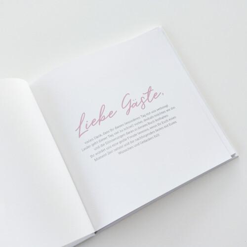 Gästebuch mit Fragen, quadratisch, schlicht, edel, rosa