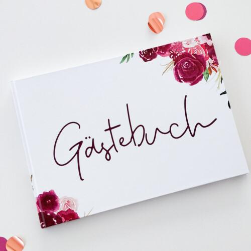 Gästebuch A4 mit Fragen, floral, Rosen, berry