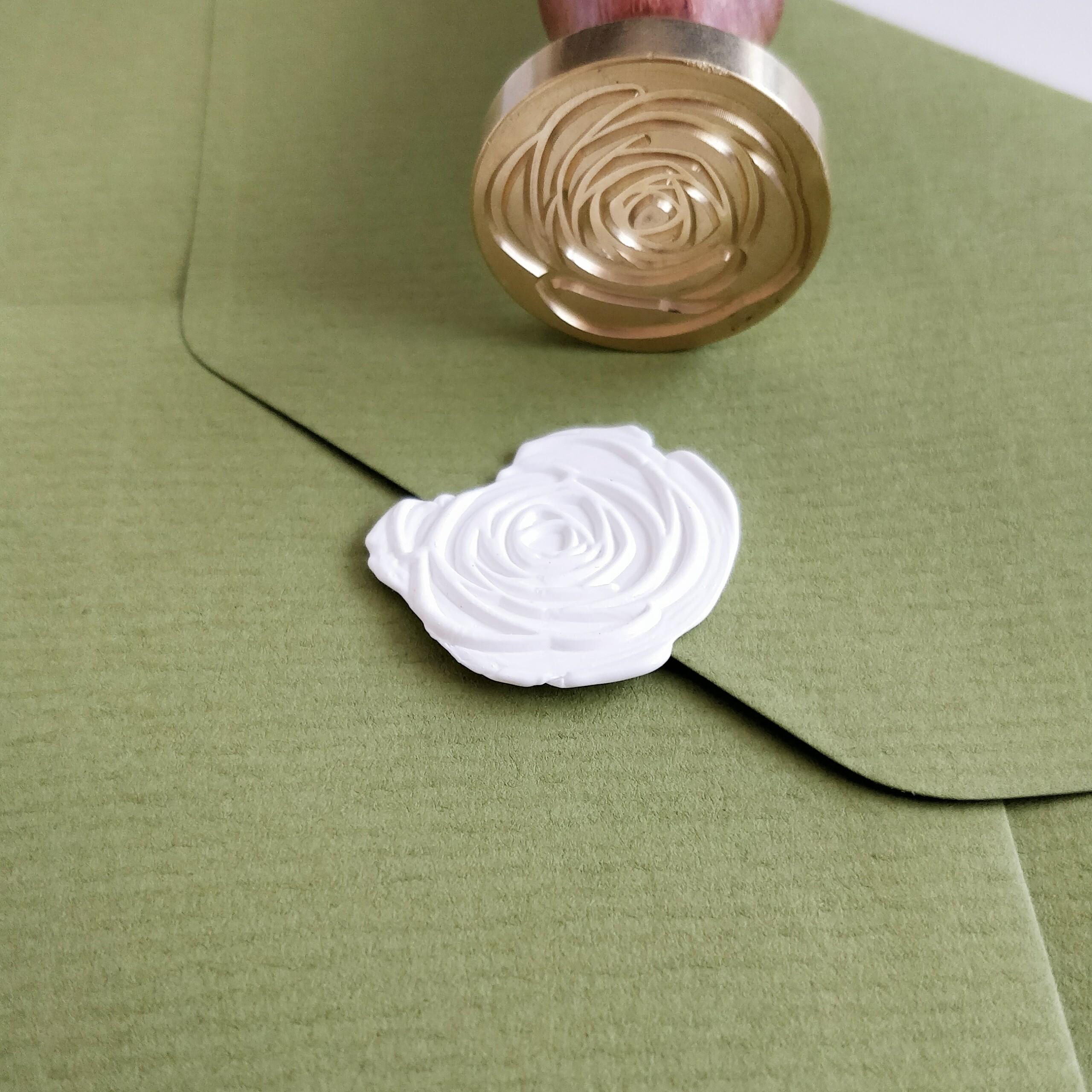 Papeterie, Einladung, Briefumschlag olive grün, Siegel, Siegelstempel, Rose