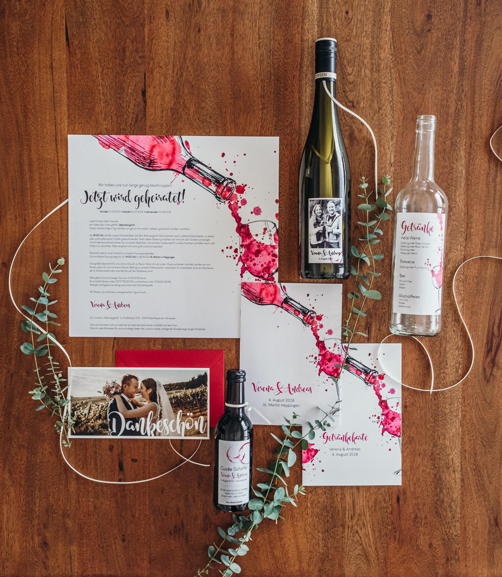 Papeterie, Hochzeitspapeterie, Weingut, Wein, Einladung, Menükarte, Kirchenheft, Danksagung, Weinflasche, Flaschenpost