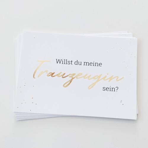 Postkarte Trauzeugin, Geschenk, Fragen