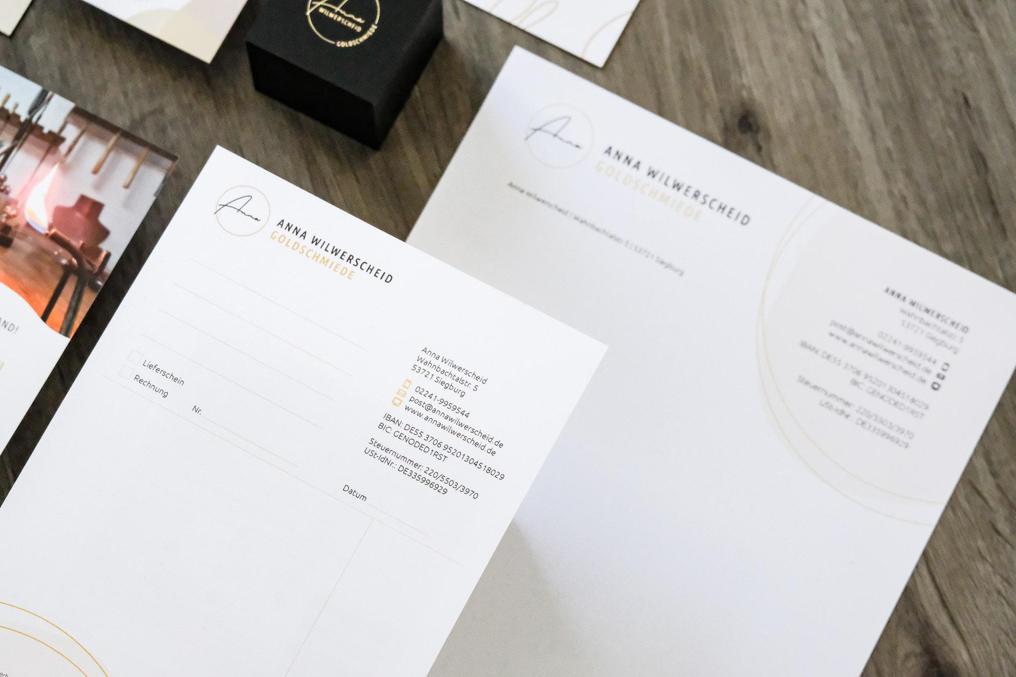 Briefbogen Briefpapier Flyer Rechnungsblock Ringkästchen Golddruck Goldschmiede Anna Wilwerscheid