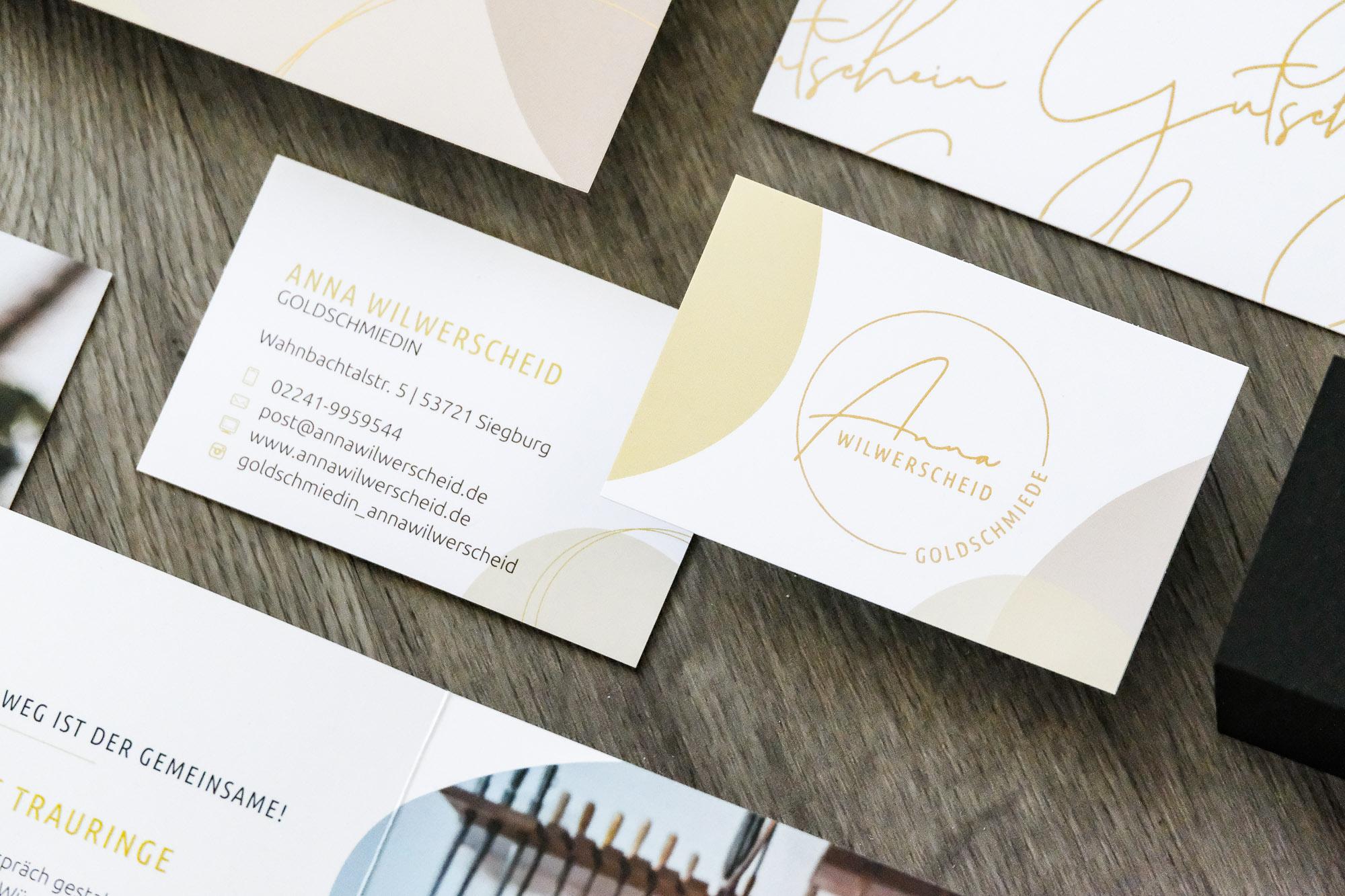 Gutscheine Postkarte Visitenkarte Flyer Golddruck Goldschmiede Anna Wilwerscheid