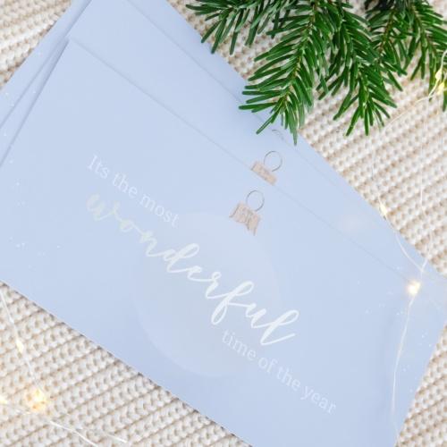 Weihnachtskarte mit Silberfolierung